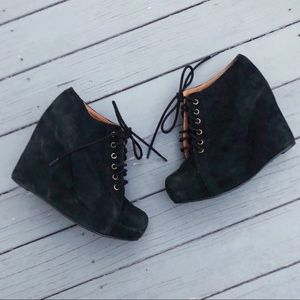 Jeffrey Campbell lace-up suede wedge booties 7.5